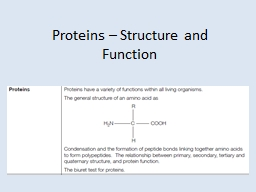 Proteins – Structure and Function