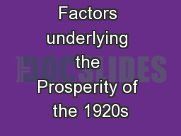 Factors underlying the Prosperity of the 1920s
