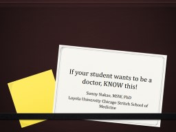 If your student wants to be a doctor, KNOW this!