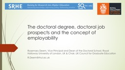 The  doctoral degree, doctoral job prospects and the concept of employability