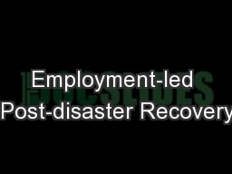 Employment-led  Post-disaster Recovery: