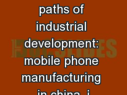 Globalization and divergent paths of industrial development: mobile phone manufacturing in china, j