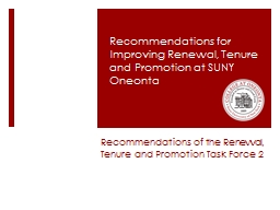 Recommendations of the Renewal, Tenure and Promotion Task Force 2
