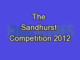 The Sandhurst Competition 2012