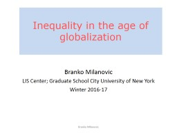 Inequality in the age of globalization