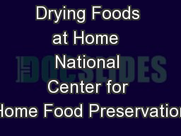 Drying Foods at Home  National Center for Home Food Preservation