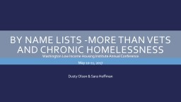 By Name Lists -More than Vets and Chronic Homelessness