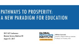 pathways to prosperity: A New paradigm for education PowerPoint PPT Presentation