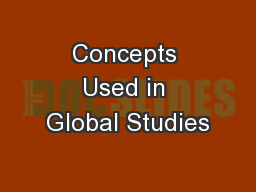 Concepts Used in Global Studies