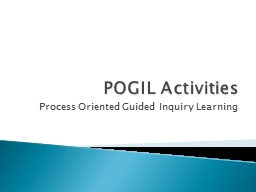 POGIL Activities Process Oriented Guided Inquiry Learning