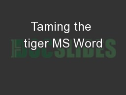 Taming the tiger MS Word