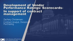 Development of Vendor Performance Ratings/ Scorecards-