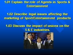 1.01 Explain the role of Agents in Sports & Entertainment