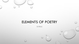 Elements of Poetry Extras