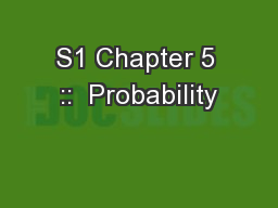 S1 Chapter 5 ::  Probability