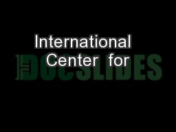 International  Center  for