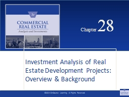 Chapter  28 Investment Analysis of Real Estate Development Projects: Overview & Background