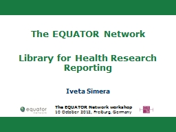 The EQUATOR Network  Library for Health