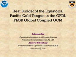 Heat  B udget of the Equatorial Pacific Cold Tongue in the GFDL FLOR Global Coupled GCM
