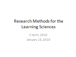Research Methods for the Learning Sciences