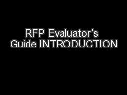 RFP Evaluator's Guide INTRODUCTION