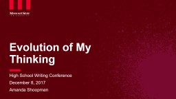 Evolution of My Thinking PowerPoint Presentation, PPT - DocSlides