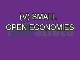 (V) SMALL  OPEN ECONOMIES