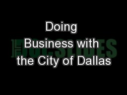 Doing Business with the City of Dallas