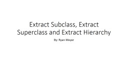 Extract Subclass, Extract Superclass and Extract Hierarchy