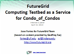 FutureGrid  Computing Testbed as a Service