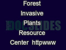 Forest Invasive Plants Resource Center  httpwww