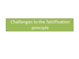 Challenges to the falsification principle