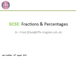 GCSE:  Fractions & Percentages