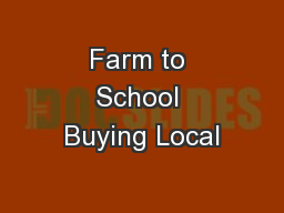 Farm to School Buying Local