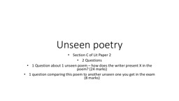 Unseen poetry Section C of Lit Paper 2