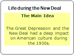 Life during the New Deal
