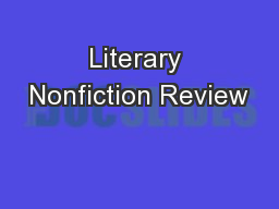 Literary Nonfiction Review