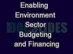 WASH Enabling  Environment Sector Budgeting and Financing