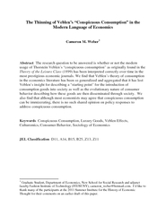 The Thinning of Veblens Conspicuous Consumption in the