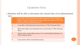 Learning Goal Students will be able to determine the central idea of an informational text.