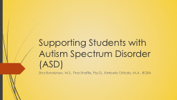 Supporting Students with Autism Spectrum Disorder (ASD)