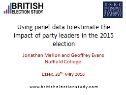 Using panel data to estimate the impact of party leaders in the 2015 election