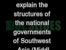 SS7CG5 The student will explain the structures of the national governments of Southwest Asia (Middl