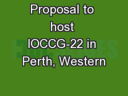 Proposal to host IOCCG-22 in Perth, Western