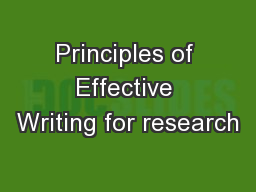 Principles of Effective Writing for research