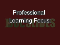 Professional Learning Focus: