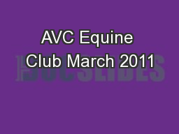AVC Equine Club March 2011