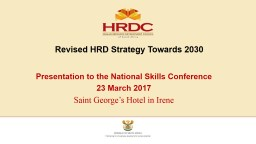 Revised  HRD  Strategy Towards 2030