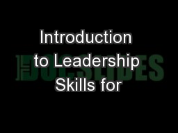 Introduction to Leadership Skills for