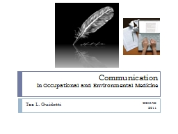 Communication  in Occupational and Environmental Medicine
